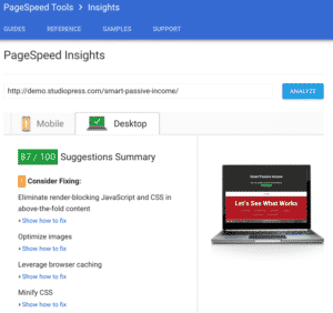 smart passive income pro theme: pagespeed insights