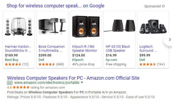 SERP Ads for Computer Speakers