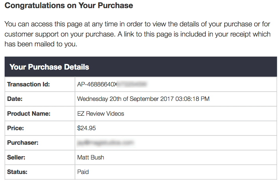 EZ Review Videos Purchase Receipt