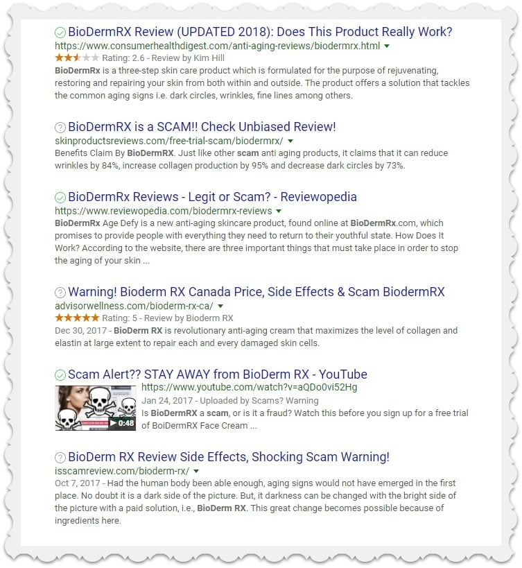 Google search for free trial offer scams