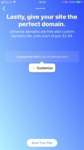Universe Website Builder domain upgrade