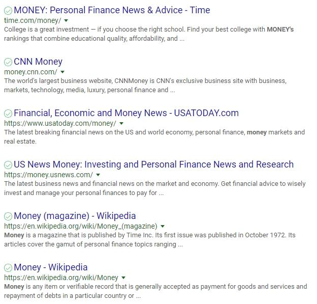 rankme money keyword serp