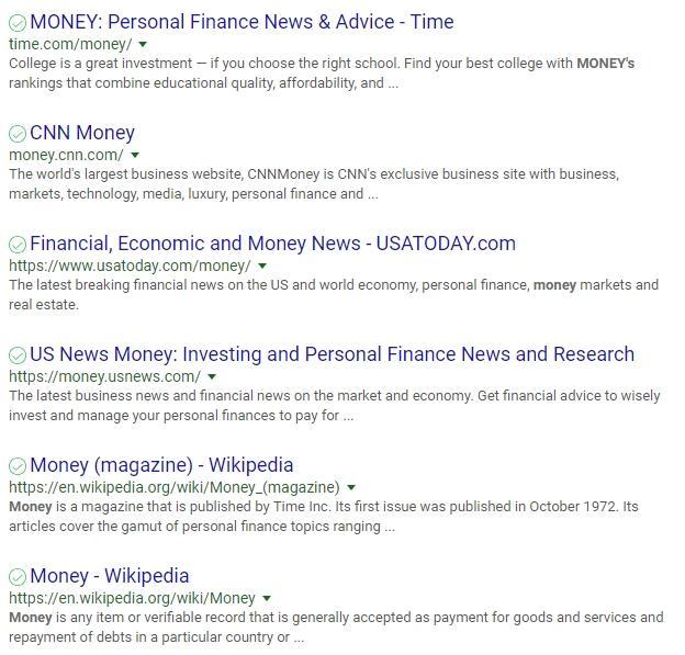 rankme money keyword serp