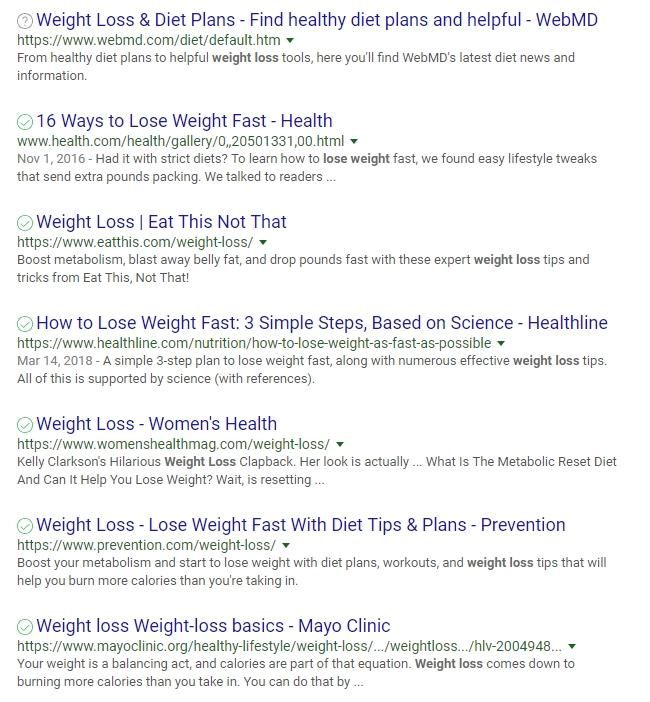 rankme weightloss serp