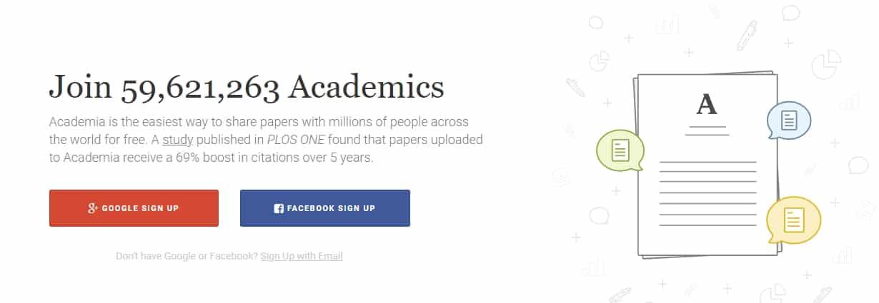 academia.edu frontpage