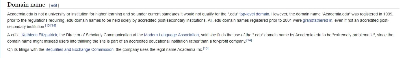 academia.edu top level domain explanation