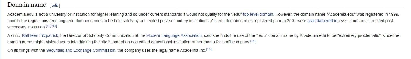 academia.edu top level domain explanation