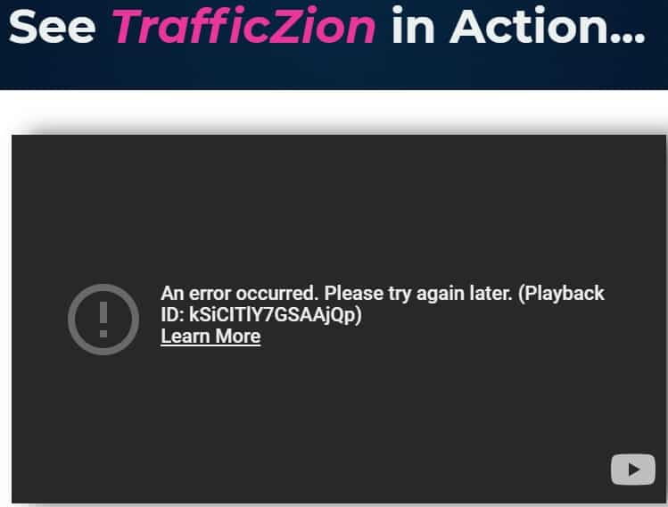 trafficzion review demo error