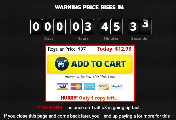 trafficx review price ticker