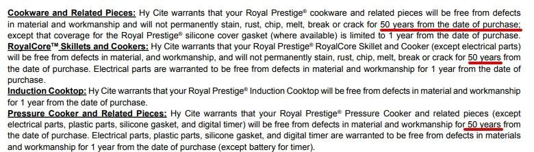 Royal Prestige MLM Review - Warranty