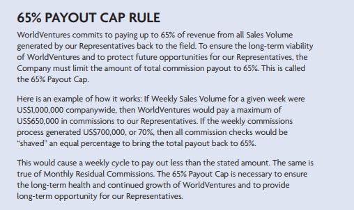 WorldVentures MLM Review - 65 Payout Cap